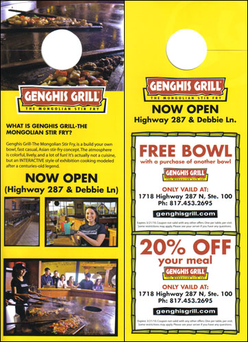 Door Hanger Advertisement With Coupons for Genghis Grill
